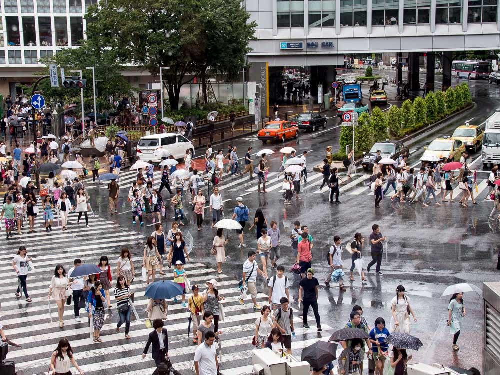 Menschen auf Shibuya Crossing