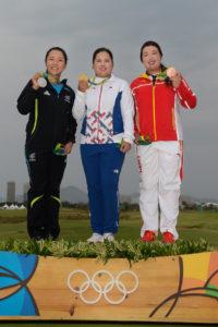 Das Siegerpodest (v.l.n.r.): Lydia Ko, Inbee Park und Shanshan Feng (Photo by Stan Badz/PGA TOUR/IGF)