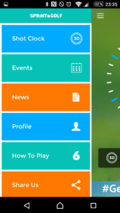 Sprint6Golf App - Das Menü