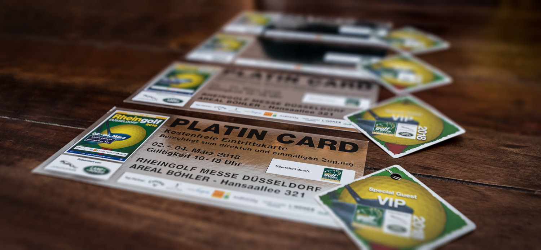 Platin-Eintrittskarten für die Golfmesse Rheingolf 2018 in Düsseldorf