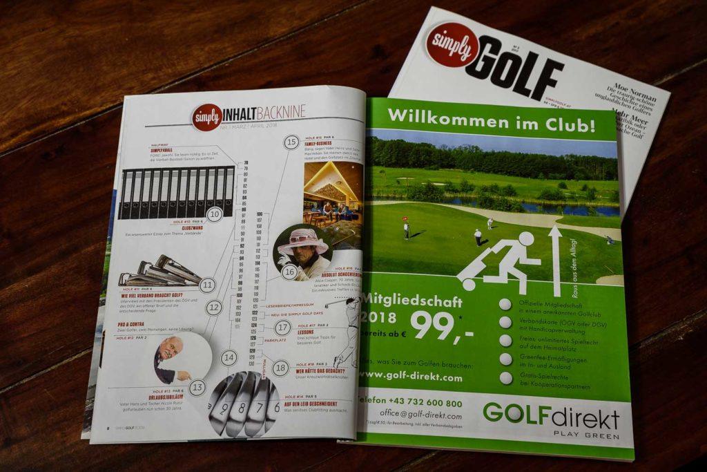 Das Inhaltsverzeichnis - ein kompletter Golfplatz in gedruckter Form ;)